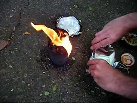 Hobo Stove cooking in a chicken can