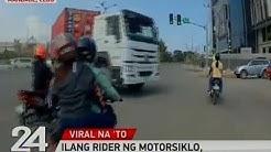 24 Oras: Ilang rider ng motorsiklo, muntik mahagip ng truck sa Cebu