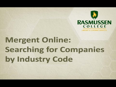 Mergent Online: Searching for Companies by Industry Code (NAICS)