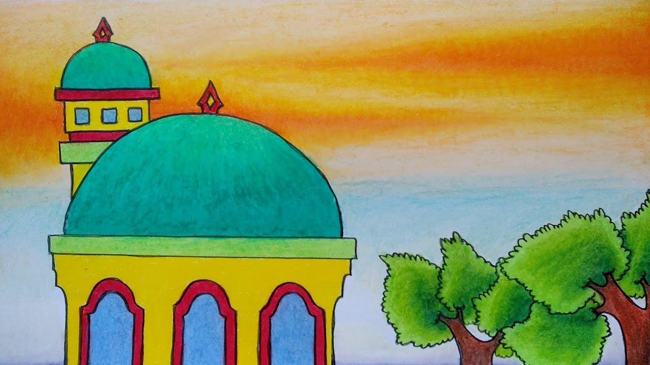 Menggambar Masjid Yang Sangat Mudah Cara Menggambar Masjid Dan Pemandangan Alam Youtube