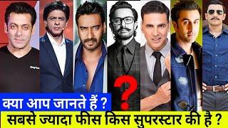 क्या आप जानते हैं सबसे ज्यादा फीस किस सुपरस्टार की है । Akshay Kumar,Salman Khan,Shahrukh,Aamir