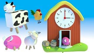 Nauka zegara dla dzieci - Zegar dla dzieci ze zwierzętami na wsi | CzyWieszJak