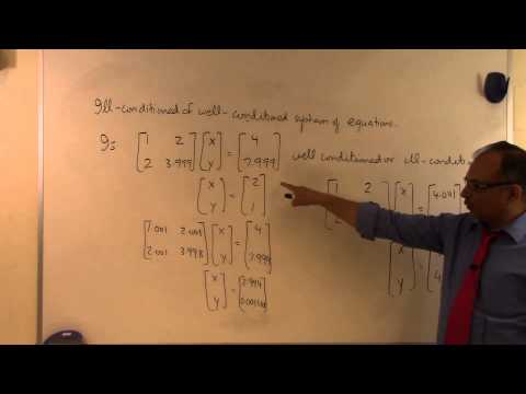 ill conditioned and well conditioned system of equations