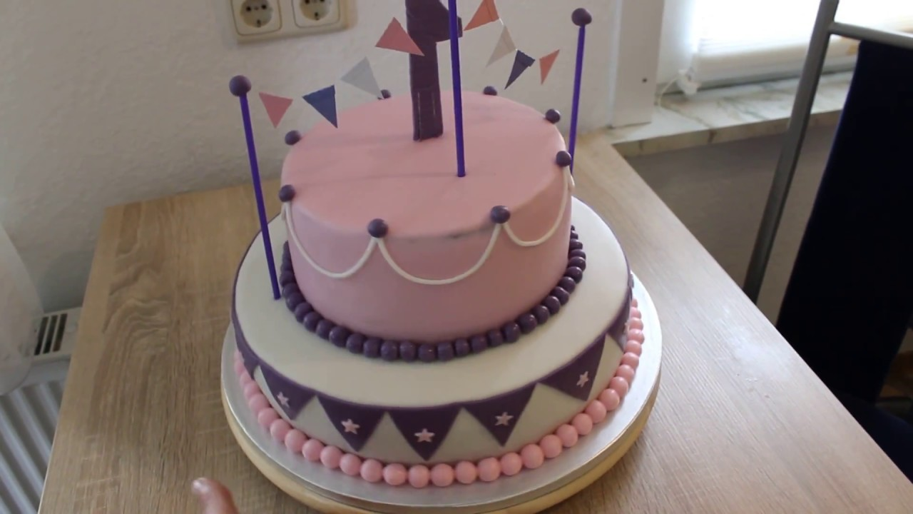 Torte Zum 1geburtstag Fondant Torte 2 Stöckig Kinder Geburtstag