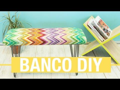Banco de madera tapizado · Handfie DIY