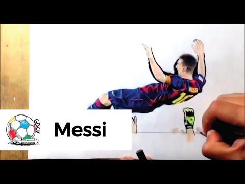 Dibujo de Leo Messi celebrando el rcord histrico de goles en La