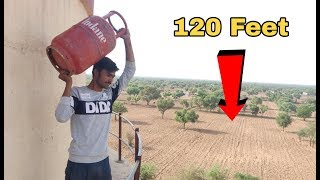 dropping-gas-cylinder-from-120-feet-height-gas-cylinder-vs-120-feet-water-tank-experiment-king