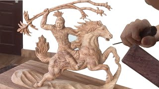 Wood Art --- Thanh Giong ride a Horse by Wood --- Wood Carving