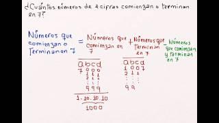 ¿Cuántos números de 4 cifras comienzan o terminan en 7?