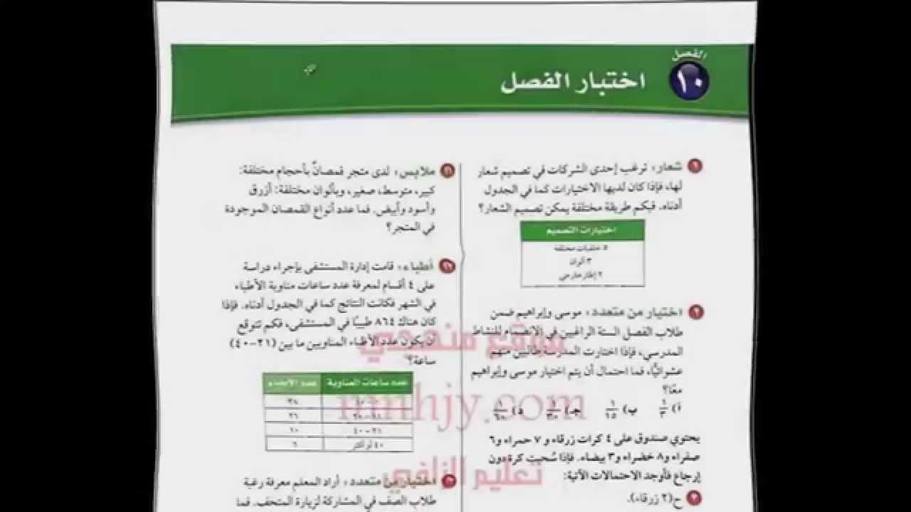 حل كتاب الرياضيات ثاني متوسط ف1 اختبار الفصل 2