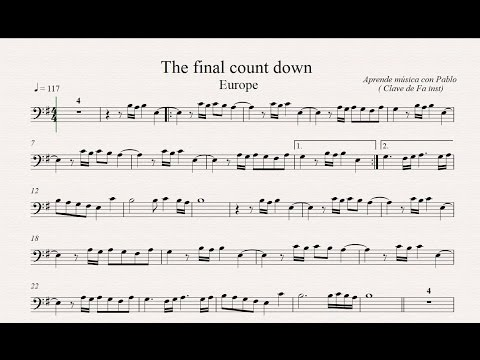 THE FINAL COUNTDOWN: Clave de Fa (trombón, chelo, fagot, contrabajo...) (partitura/playback)