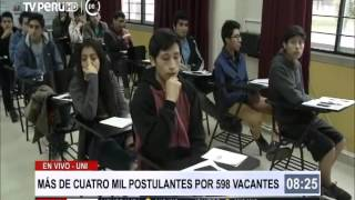 Más de cuatro mil postulantes rinden examen de admisión a UNI