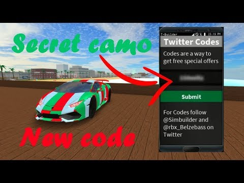 ROBLOX VEHICLE SIMULATOR NEW CODE FOR A SPECIAL CAMO