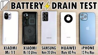 Xiaomi Mi 11 vs Mi 10 Ultra vs Note 20 Ultra vs Mate 40 Pro vs iPhone 12 Pro Max Battery DRAIN Test!