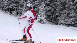 Видео лыжи - Повороты в плуге на горных лыжах Урок 3