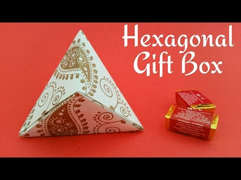 "How to make a paper ""Hexagonal gift box wrap""  - Useful Origami Tutorial."