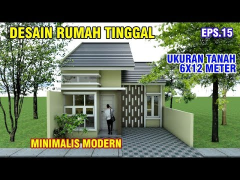 Desain Rumah Mewah Dengan Biaya Murah  desain rumah 6x12 meter dengan 2 kamar tidur cantik dipandang eps 015