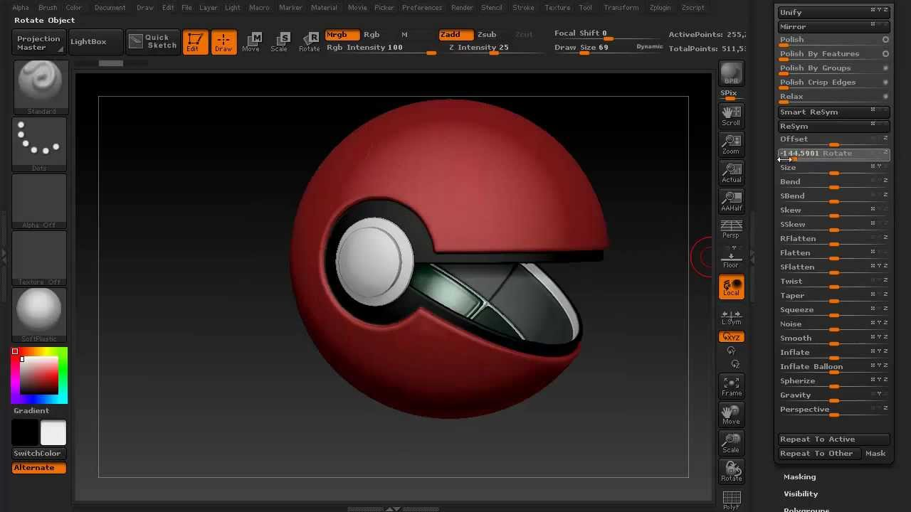 zbrush 4r5 speed sculpt creating a pokeball with panels