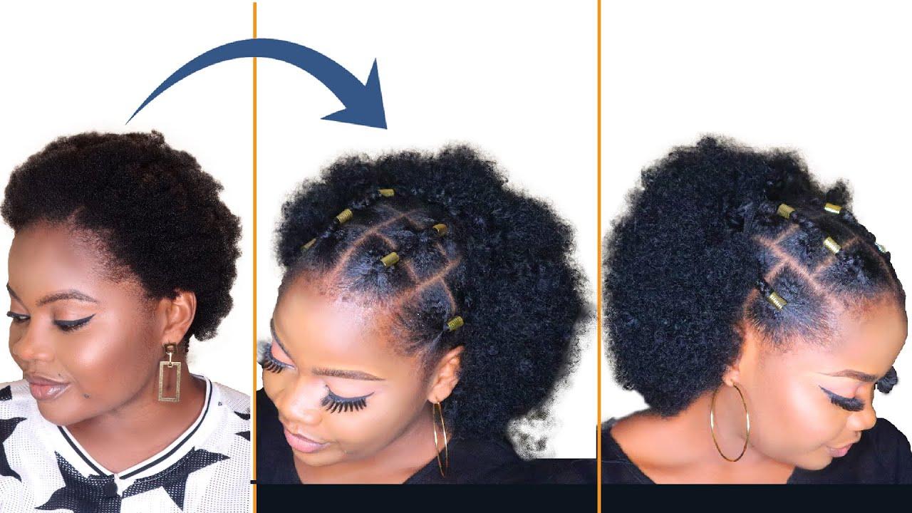 DIY Natural Hairstyle Tutorial On A Short Hair   How To Sleek Down Natural  Hair