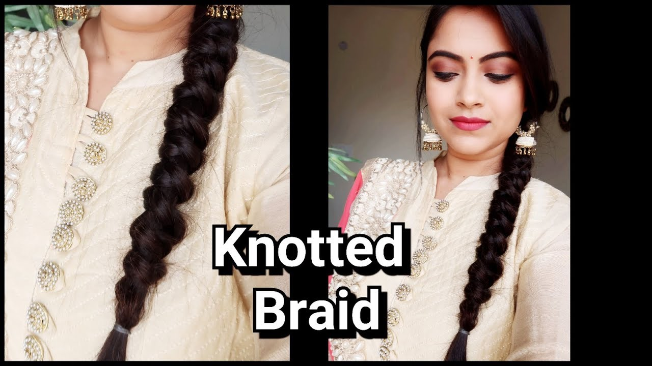 Knotted Braid Easy Indian Wedding Guest Hairstyle Party Hairstyle For Medium Long Hair Youtube