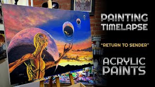 """Painting """"Return To Sender"""" With Acrylic Paints - Timelapse"""