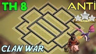 Clash of Clans - 8.Seviye Köy Binası anti 3 Yıldız Klan Savaşı Düzeni (th8 clan wars base )