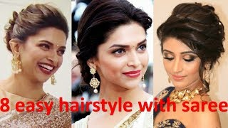 8 unique & different hairstyle with saree | french bun hairstyle | bridal hairstyle | new hairstyle