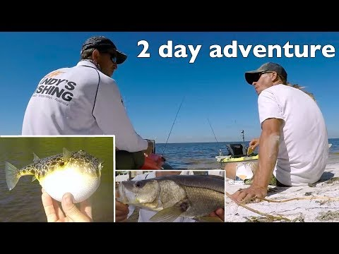 2 day Kayak hotels fishing adventure iexplore Tampa USA Ft Marty Zoffinger Snook Puffer Fish EP.390