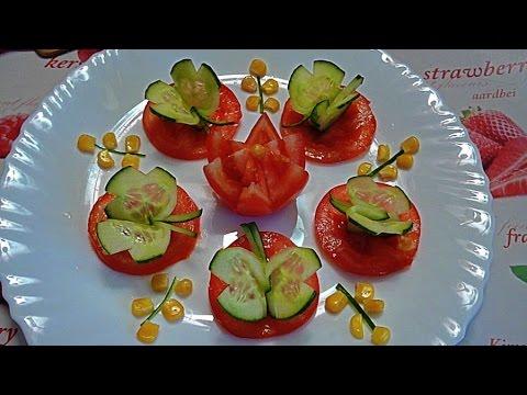 Розочки для вас! Из овощей! пошагово Украшение блюд