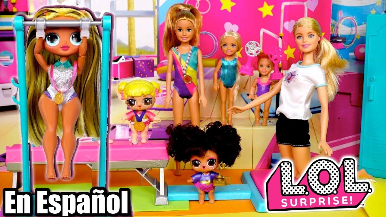 Videos Infantiles de Gimnasia con Muñecas LOL Sorpresa OMG y Barbie