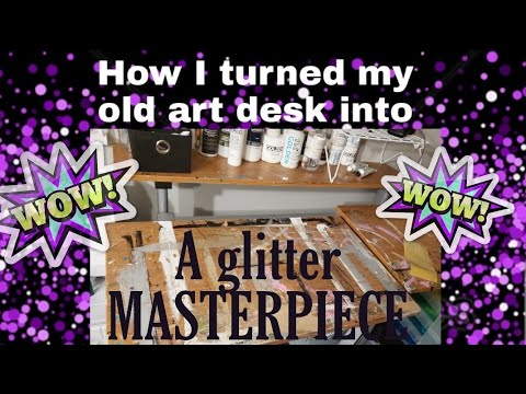 How to Glitter Resin a table top or desk tutorial DIY