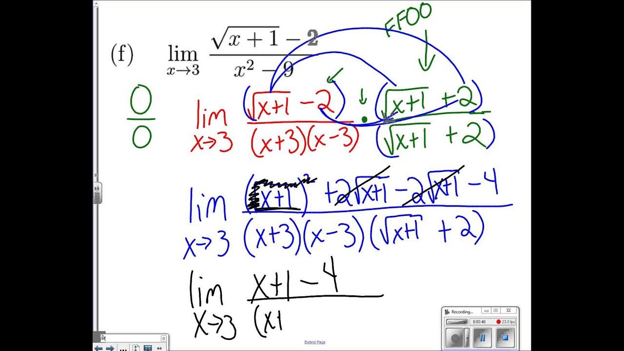 Summer Packet Limits Worksheet Problem 3f