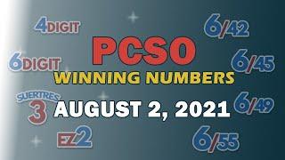 P73M Jackpot Grand Lotto 6/55, EZ2, Suertres, 4Digit, and Megalotto 6/45   August 2, 2021