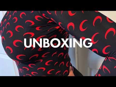 MARINE SERRE Moon-Print Red & Black Jersey Top Unboxing