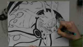 Speed drawing Naruto Bijuu Mode -Naruto-