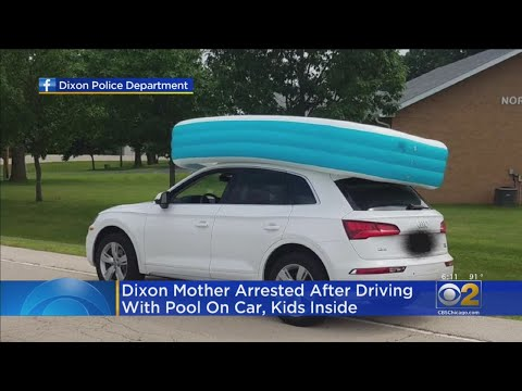Bruce, John and Janine - Mom Drives Her Kids Around In Swimming Pool On Top Of Car