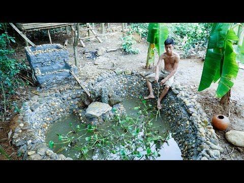 Primitive Technology:Fish Pond-part4-Drop fish-relaxing!