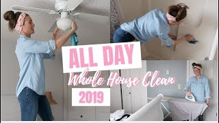 ALL DAY WHOLE HOUSE CLEAN WITH ME 2019 // Once a Month Deep Clean // Extreme Cleaning Motivation