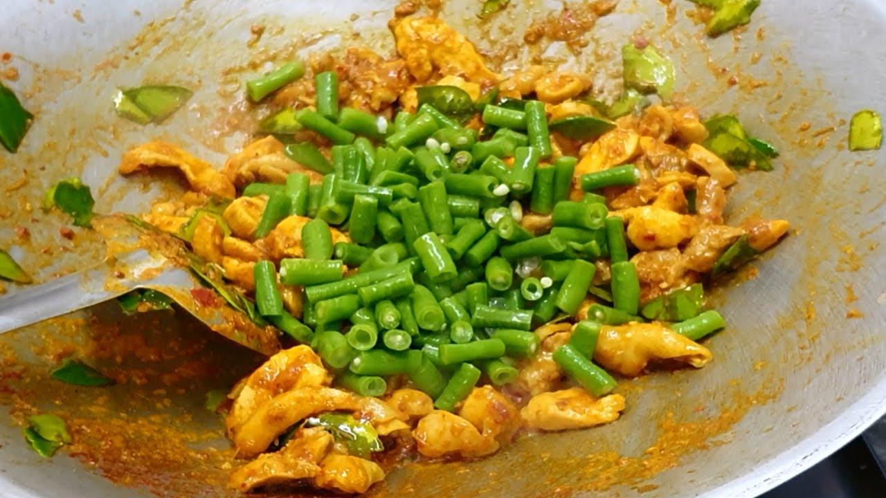 ไก่ผัดพริกแกงใส่ถั่วฝักยาว (ไก่ผัดพริกขิง) ผัดแบบไม่ใช้น้ำมันสักหยด สูตรร้านข้าวแกง เมนูอาหารกล่อง