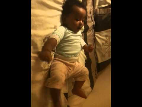 Ethio-American 7 Month Old Baby Dancing On Bed!!