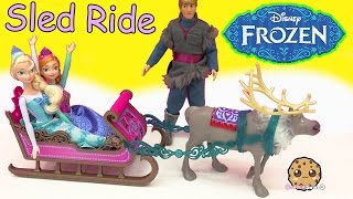 Disney Frozen Princess Ann And Queen Elsa's Royal Sled & Sven Toy Unboxing Video Cookieswirlc