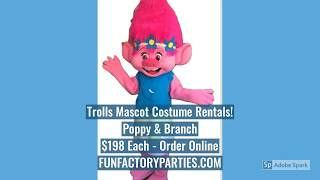 Trolls Birthday Character Costume Rentals | Adult Poppy Trolls Mascots | Hire Party Characters