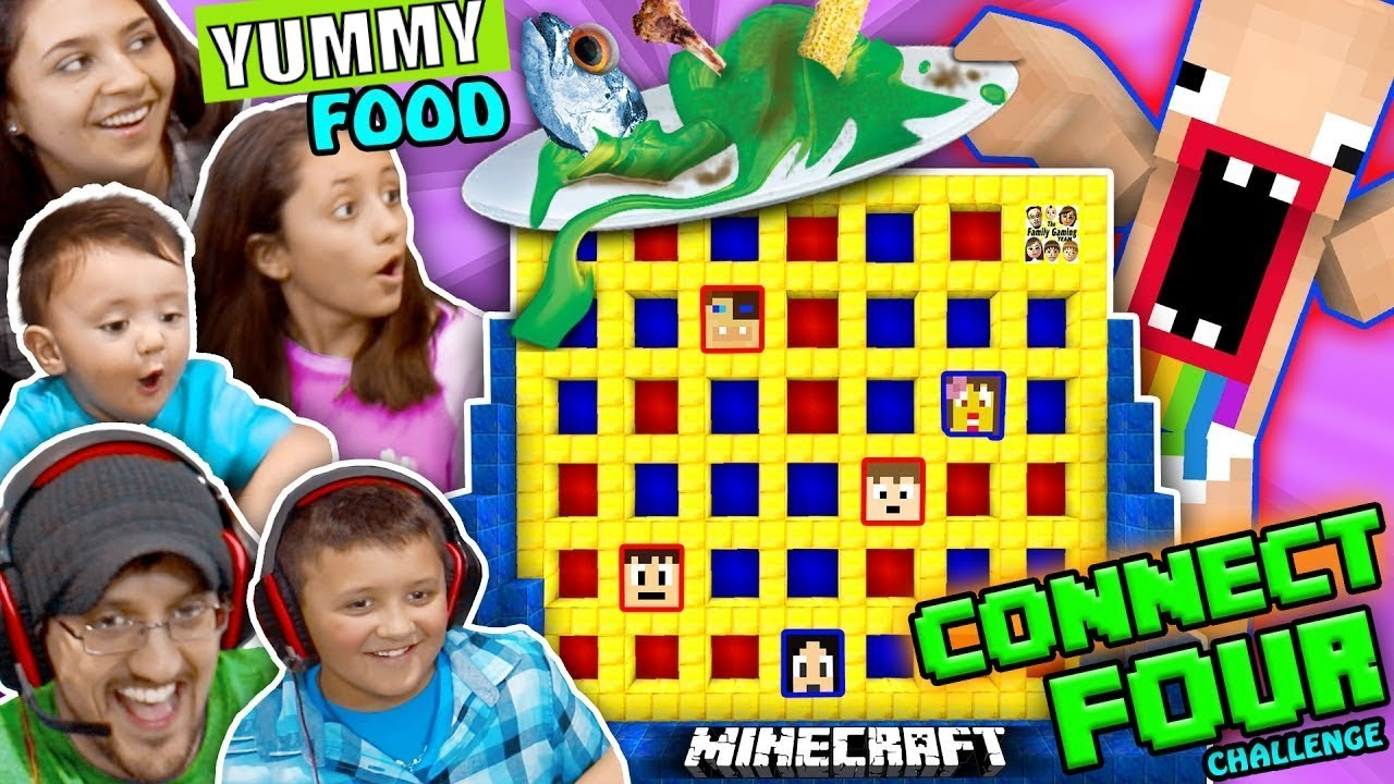 fgteev minecraft connect 4 family game night challenge losers eat