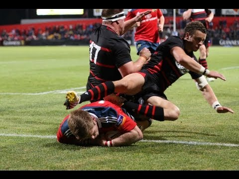 Long pass enables Ivan Dineen to crash over in corner for Try  - Munster v Edinburgh 7th Sept 2013