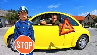 Ride on VW Bug Car & Tim Pretend Play Police Officer