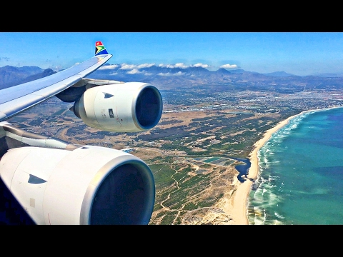 South African Airways Airbus A340-600 BEAUTIFUL Landing in Cape Town!