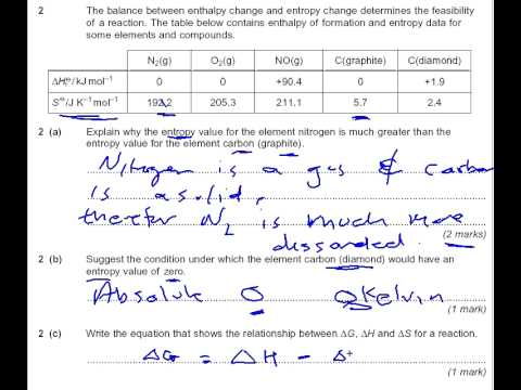 Entropy, Enthalpy and Gibbs free energy chemistry A level past paper