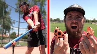HOW FAST CAN I HIT RANDOM BALLS? *I BROKE IT* IRL BASEBALL CHALLENGE