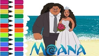 Wedding Moana & Maui Coloring Page! Fun Coloring Activity for Kids Toddlers Children