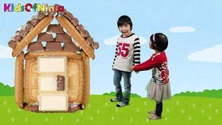 お菓子のおうち 作ってみた♪ おうちづくり ごっこ遊び アニメ チョコ クッキー 大泣き!おとちゃん Kids Making Chocolate Cookie House